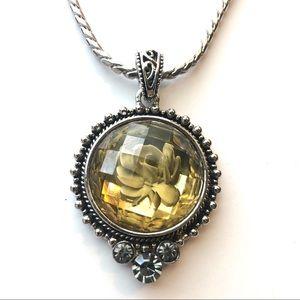 Silver w/Yellow & Black Crystal Pendant & Bracelet